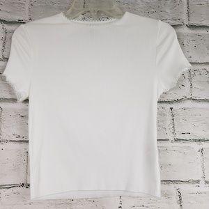 Topshop ribbed cropped shirt sleeve shirt